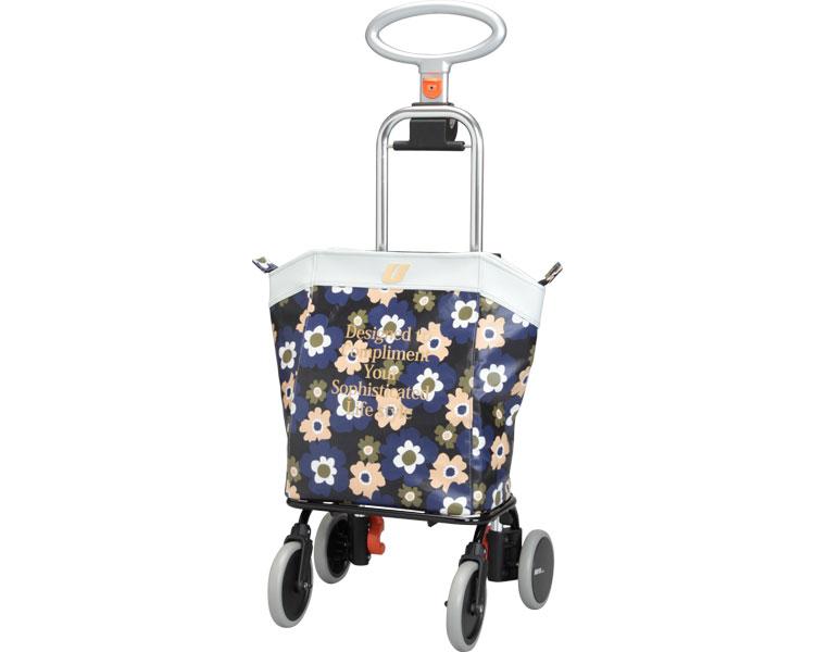 アップライン (介援隊オリジナルカラー) UL-0218 花柄フララネイビー 介護 ショッピングカート おでかけ 大容量バッグ 25L 選べる3色