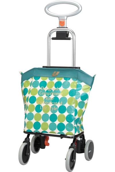 アップライン (介援隊オリジナルカラー) UL-0218 水玉グリーン 介護 ショッピングカート おでかけ 大容量バッグ 25L 選べる3色