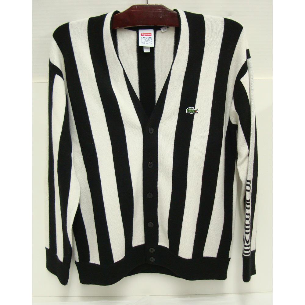 【中古】Supreme×LACOSTE シュプリーム ラコステ Stripe Cardiganストライプカーディガン コラボ ホワイト×ブラック 白黒 Sサイズ【橿原店】【H】