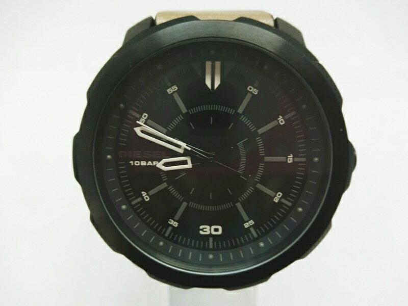 iaf-acf-171224006009 中古 在庫あり DIESEL ディーゼル 腕時計 DZ-1788 ブラック 毎日続々入荷 黒文字盤 ブラウン レザーバンド 出雲店