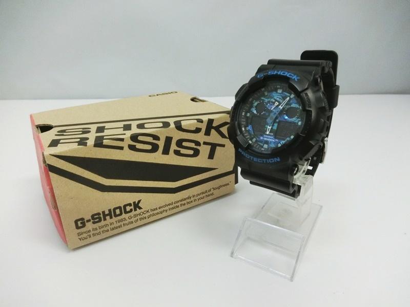 定番キャンバス iaf-acf-200203006007 中古 CASIO カシオ G-SHOCK GA-100CB-1AJF SPECIAL 有名な COLOR ジーショック 出雲店 5081 カモフラージュダイアル 腕時計 ブラック ブルー