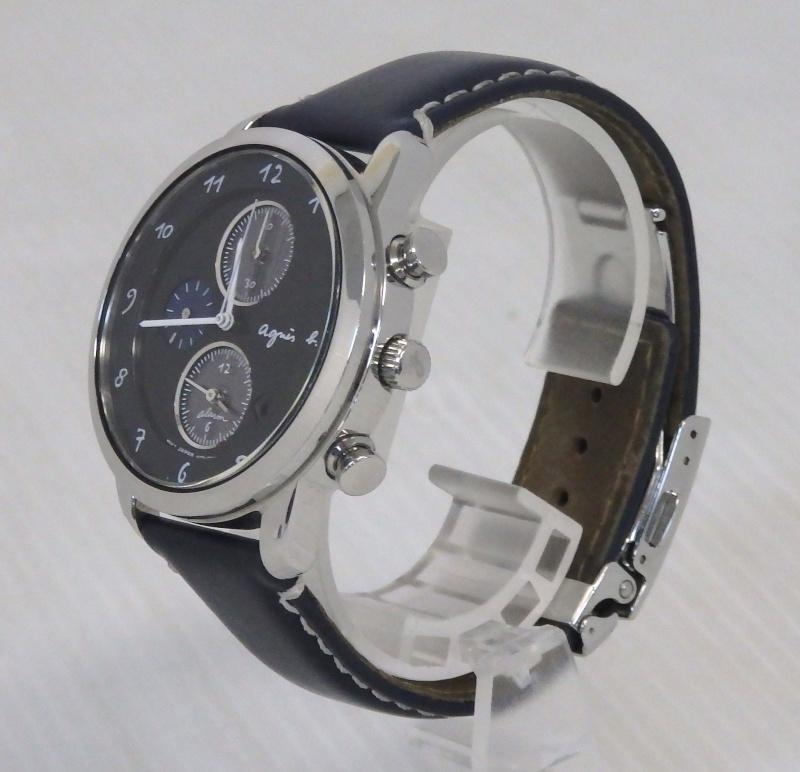 米子店は注文確定から1~3日程度で発送致します セール特価品 中古 agn s b アニエスベー マルチェロ 黒文字盤 腕時計 デイト 定番スタイル V172-0AW0 ソーラー クロノグラフ 米子店