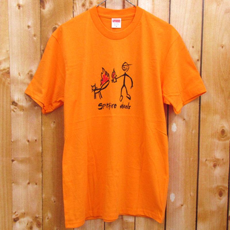 【中古】【メンズ 古着】Supreme シュプリーム Spitfire Cat T-shirt スピットファイア キャット Tシャツ サイズ:M/カラー:オレンジ/18SS/ストリート【山城店】