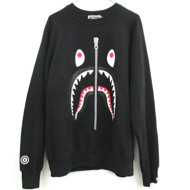 【中古】【メンズ 古着】A BATHING APE アベイシングエイプ Shark Crewneck シャーク クルーネック サイズ:XL/カラー:ブラック/BAPE/スウェット/WGM/ストリート【山城店】