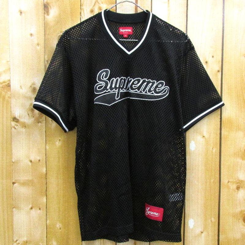 【中古】【メンズ古着】Supreme シュプリーム Mesh Baseball Top メッシュベースボールトップ 半袖 サイズ:S/カラー:ブラック/18SS/ジャージ/カットソー/ストリート【山城店】