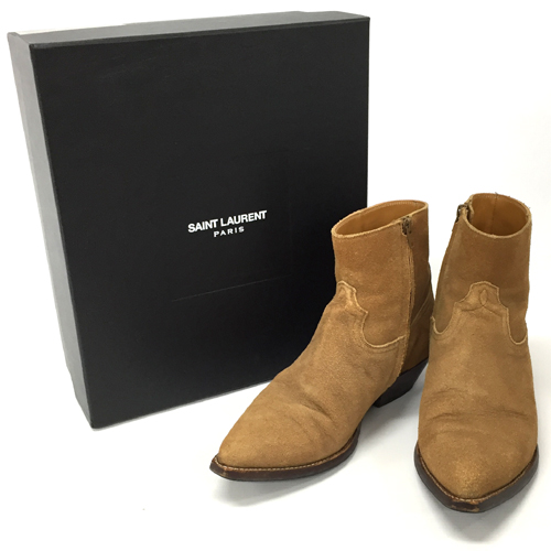 【中古】SAINT LAURENT PARIS サンローランパリ サイドジップ ウエスタンブーツ/高級靴【メンズ古着】【山城店】