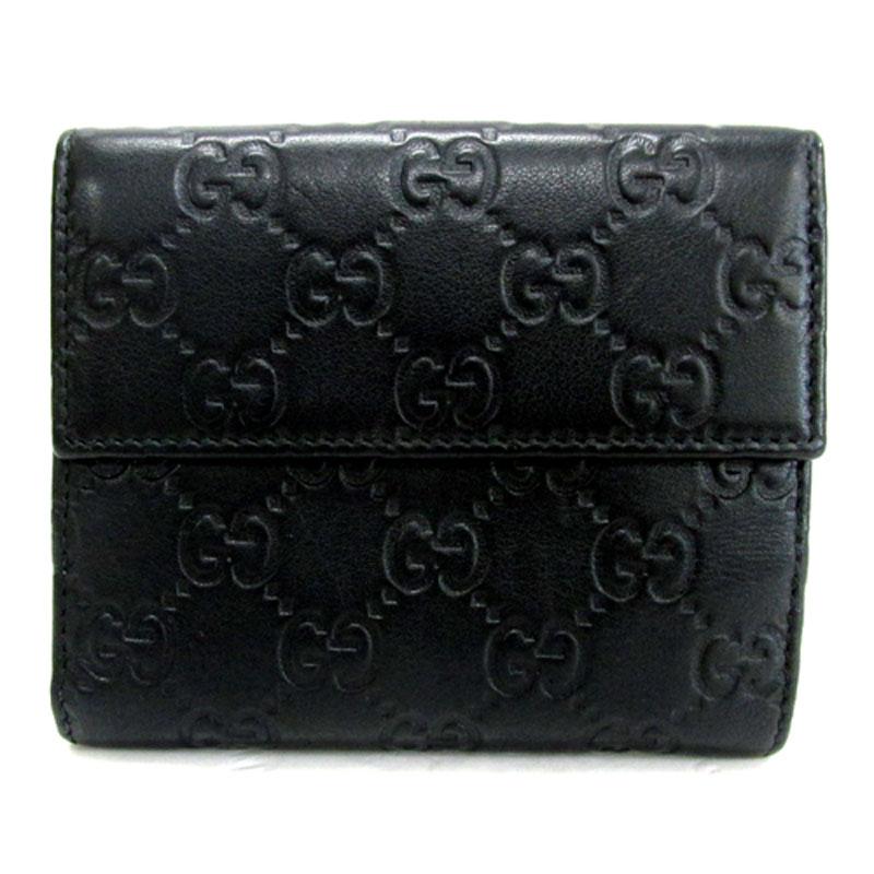 【中古】GUCCI(グッチ) シマ「レザー Wホック 財布」カラー:ブラック/Ref.No:143387《財布/サイフ/ウォレット》【ブランド】【山城店】