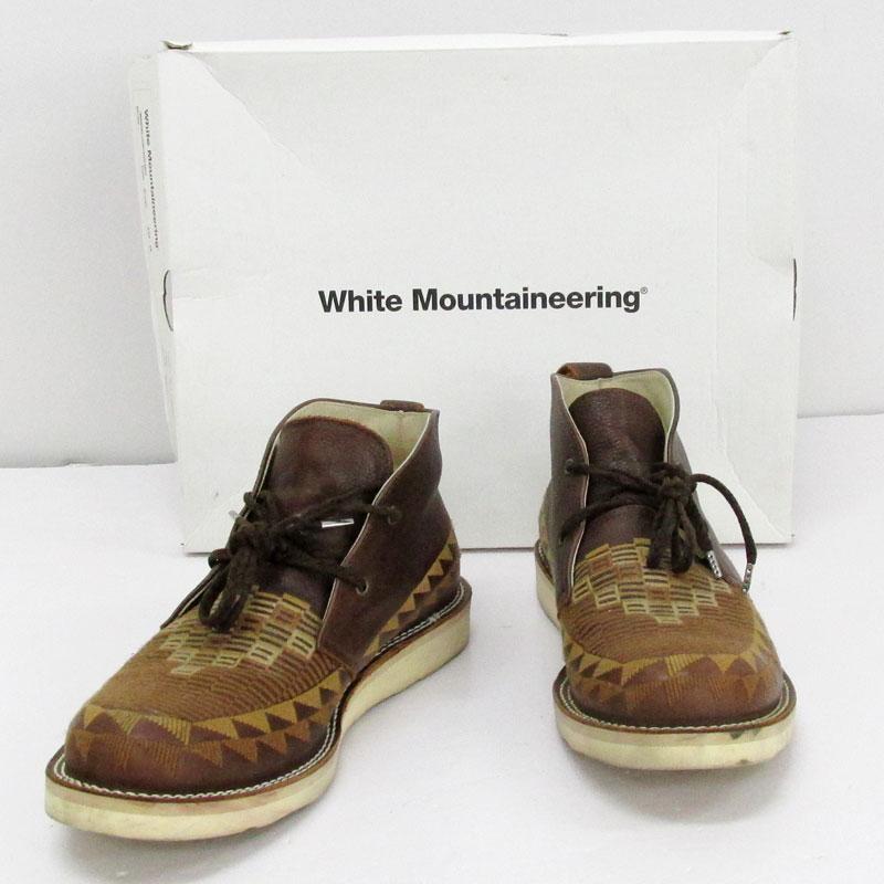 【中古】【メンズ古着】White Mountaineering ホワイトマウンテニアリング EMBROIDERED LEATHER DESERT BOOTS サイズ:26cm/茶色系/他靴/靴 シューズ【山城店】