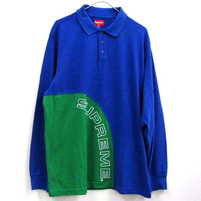 【中古】【メンズ古着】Supreme シュプリーム Corner Arc L/S Polo コーナーアーク 長袖 ポロシャツ/サイズ:XL/カラー:ブルー/2018SS/ストリート【山城店】