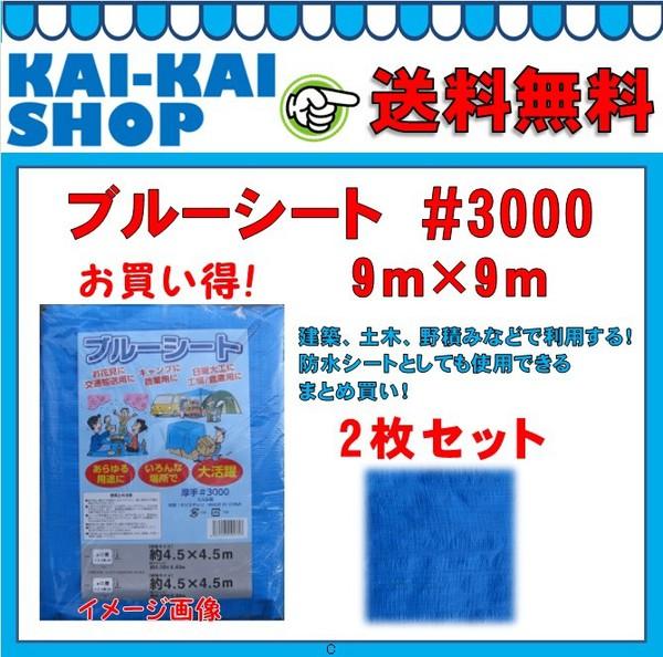 送料無料 3000番ブルーシート 9m×9m 2枚セット シンセイ
