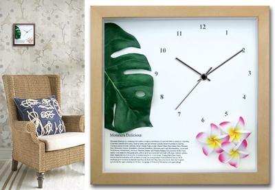 ○o。小さめサイズのインテリア時計♪DECLOCK*モンステラ*ハワイアンインテリア*ハワイアン雑貨引っ越し祝い*お祝い。o○ プレゼント父の日