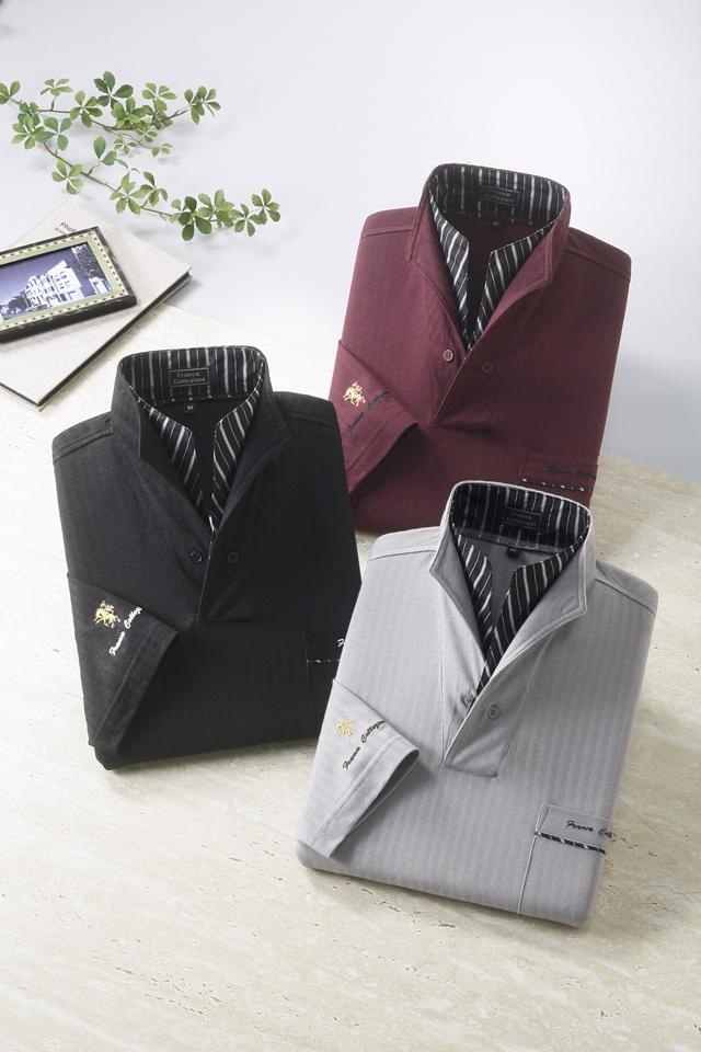 二重変化衿7分袖ドレスポロシャツ 3枚組 【ブラック・グレー・ワインの同サイズ3色組】
