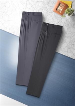 FC 4タック 刺繍入り スラックス 2本組(ブラック・グレー) ウエストアジャスター付で最大6cmまで対応。 (rs1)