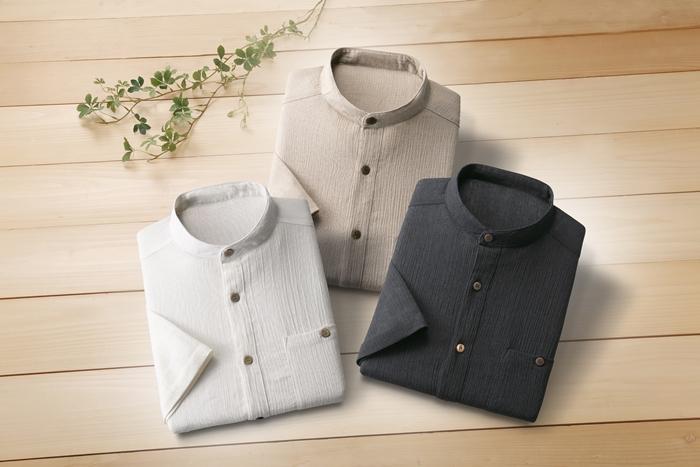 匠 麻混スタンド衿 七分袖 シャツ 3枚組【オフホワイト・ベージュ・ブラックの同サイズ3色組】