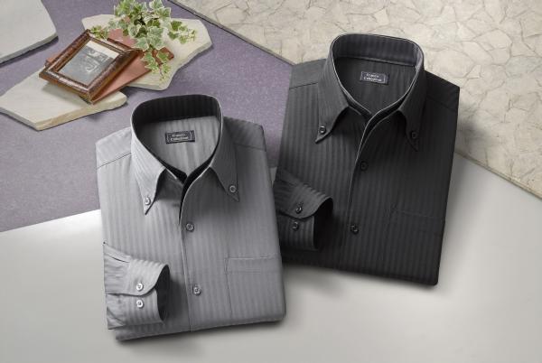 二重衿ドレスシャツ2枚組【ブラック・グレーの同サイズ2色組】