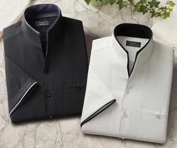 二重変化衿5分袖シャツ2枚組【ブラック・ホワイトの同サイズ2色組】