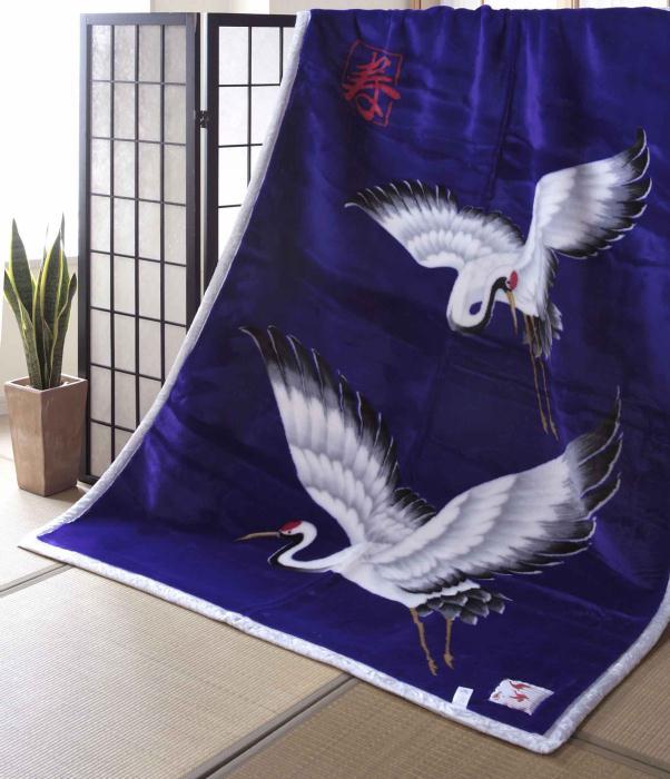 【日本製】長寿の象徴毛布 開運毛布 ニューマイヤー毛布アクリル毛布(シングル)長寿祝い 寿鶴紫毛布 寿・紫・鶴