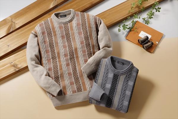FC ウール混デザインセーター2枚組セーター メンズ 長袖 カジュアルフランコ コレッツォーニ(rs1)