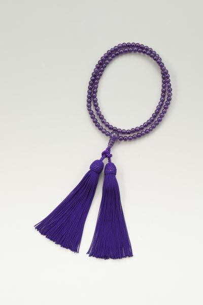 天然石二輪念珠 紫(アメジスト)二重 数珠 二輪数珠 紫水晶パワーストーン(rs1)