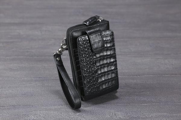 カイマン使い携帯ウォレット石ワニ カイマンワニ鰐財布 ワニ財布 ツヤ感 独特の凸凹(rs1)