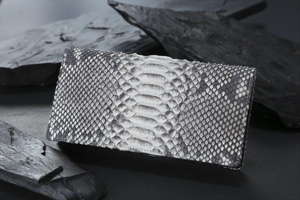 ダイヤモンドパイソン革束入れエキゾチックレザー 錦蛇革お札を折らずに収納するタイプ(小銭入れ有りファスナータイプ)を『束入れ』財布 札入れ(rs1)