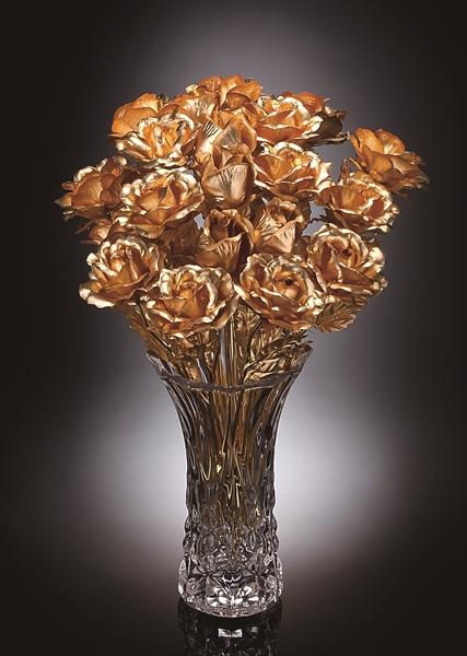 純金箔 幸せを呼ぶバラ 10本セット(特典z8g)ガラス花瓶と共にお届け(rs1)