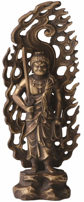 【日本製】不動明王(ふどうみょうおう)15cm酉(とり)年生まれのお守本尊古美金色 仏師 牧田 秀雲作