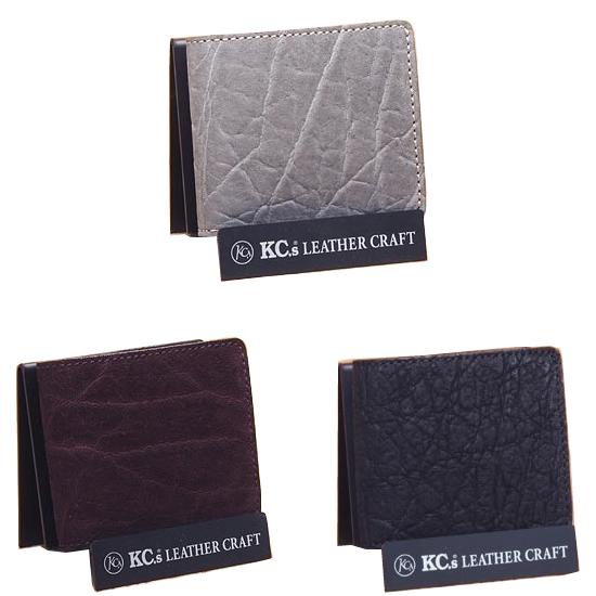 KC's 日本製 [ 象革 ] 高品質 二つ折り財布 (エレファント ゾウ革 二つ折り ウォレット 象革財布 象 財布 小銭入れ)(rs4)サンタフェ エレファント