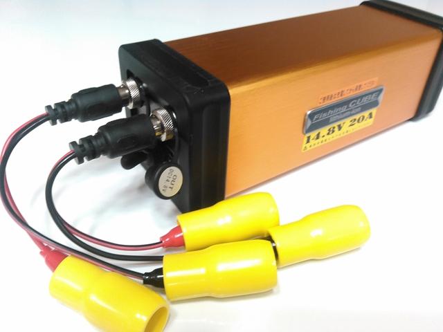 超深海対応 二系統出力端子搭載 小型軽量バッテリー 【フィッシング キューブ 14.8V 20Ah】電動リール用バッテリー 八洲電業 ヤシマFishing CUBE WG 14.8V 釣用バッテリー 電動リール用 充電池リチウムイオンバッテリー