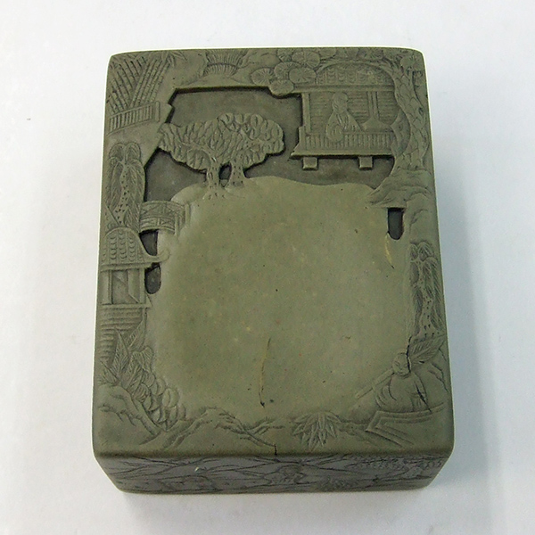 緑端渓 蘭亭硯 3吋 『硯石 写経 本石 木箱 書道用品』