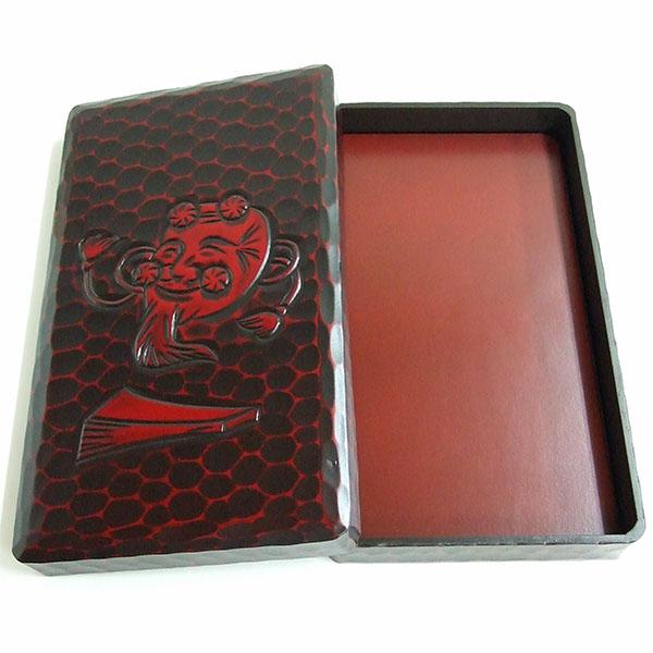 【鎌倉彫り】 硯箱 5.5寸寸長 翁 (横幅16.4cm) 『書道用品 整理箱』