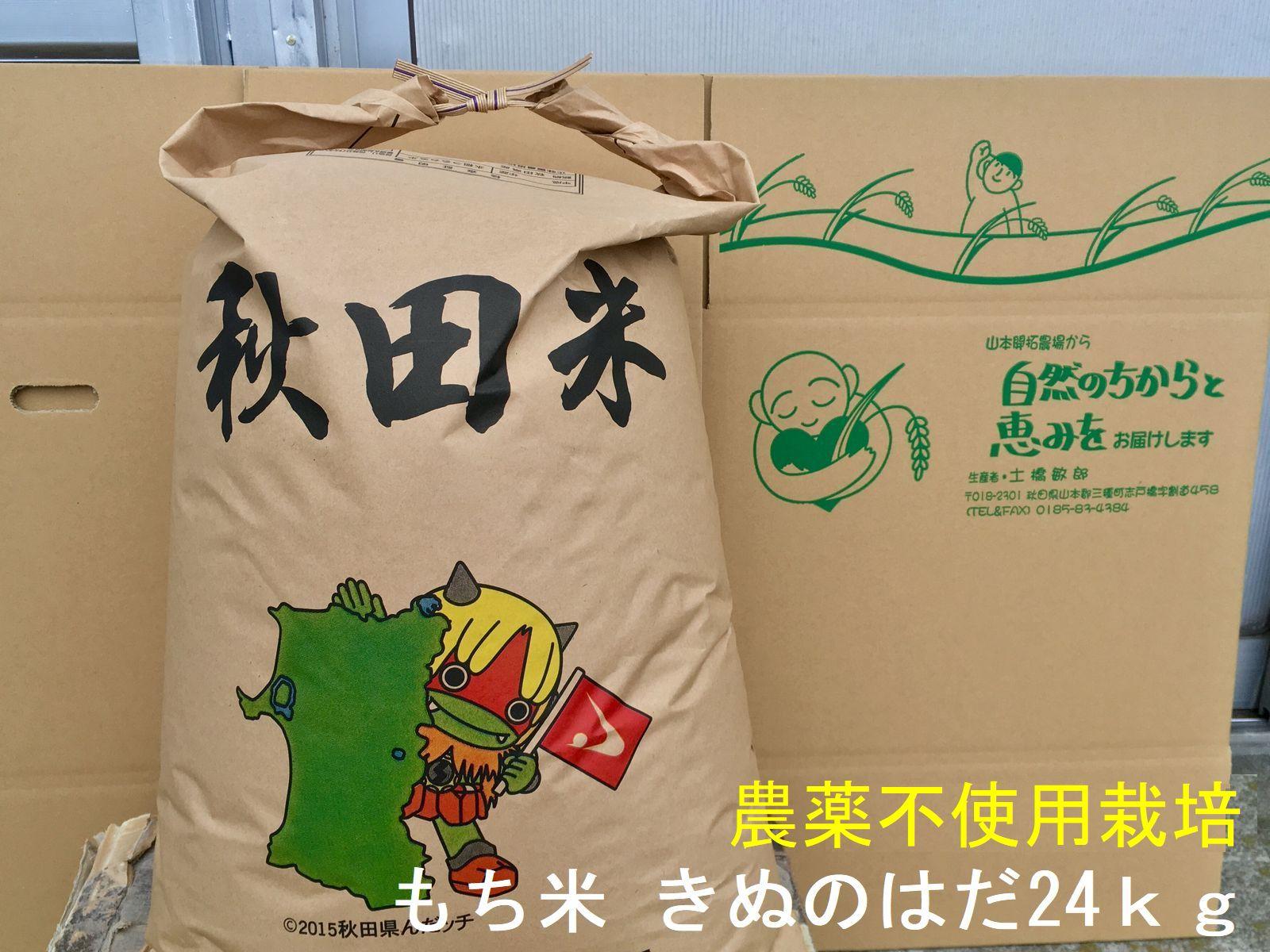 新米の予約受付開始割安な1袋でお届け 新作 人気 農薬不使用栽培で丹精込めて育てました 予約 新米 送料無料 令和3年産 玄米 秋田県産 きぬのはだ 安心で美味しいもち米24kg×1袋 農薬不使用栽培