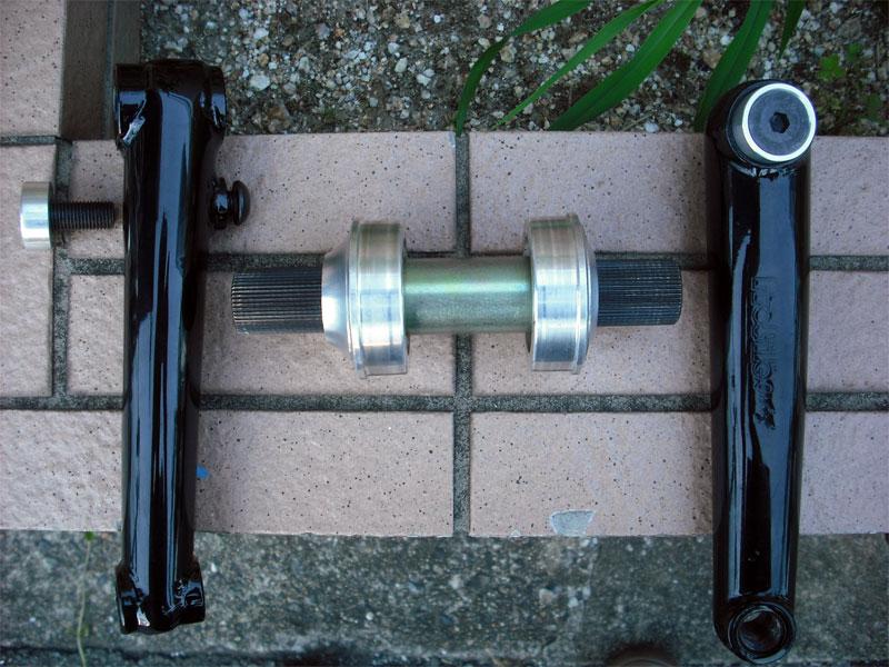 NOS Parts/Vintage Parts【PROFILE BMX SS Crankset LHD 170mm black】アルミ3PCクランク/mid school/NOS