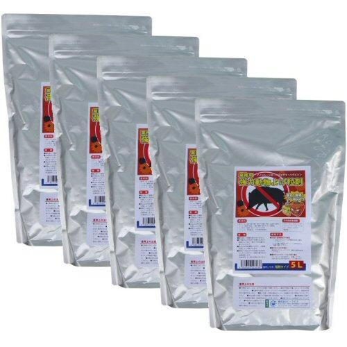 業務用強力動物よけ粒剤 大容量5L×5袋 猪・鹿よけ 激辛ハバネロを追加した強力忌避剤!