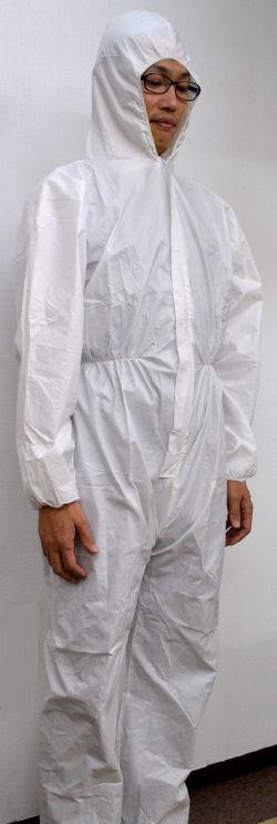 透湿ラミ フード付きカバーオール LLサイズ 1枚/袋・50袋/ケース【送料無料】
