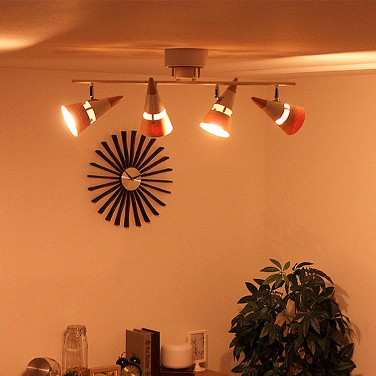 【送料無料・一部地域を除く】シーリングライト 4灯 ビーク[BEAK]BBR-018T  スポットライト 天井照明 照明器具 間接照明 照明 6畳 8畳 LED 対応 E26 プルスイッチ スチール ウッド 木 led 和室 寝室 リビング用 ダイニング用 北欧 おしゃれ かわいい テレワーク 在宅