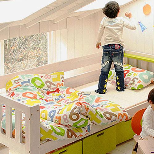 【メーカー直送品】E-ko(いいこ) シングルベッド【ベッド シングルベッド 子供用ベッド 部屋 木 木製 ナチュラル シンプル 北欧 テイスト おしゃれ家具 通販 子供部屋 子ども部屋 キッズ キッズインテリア 新生活 インテリア】
