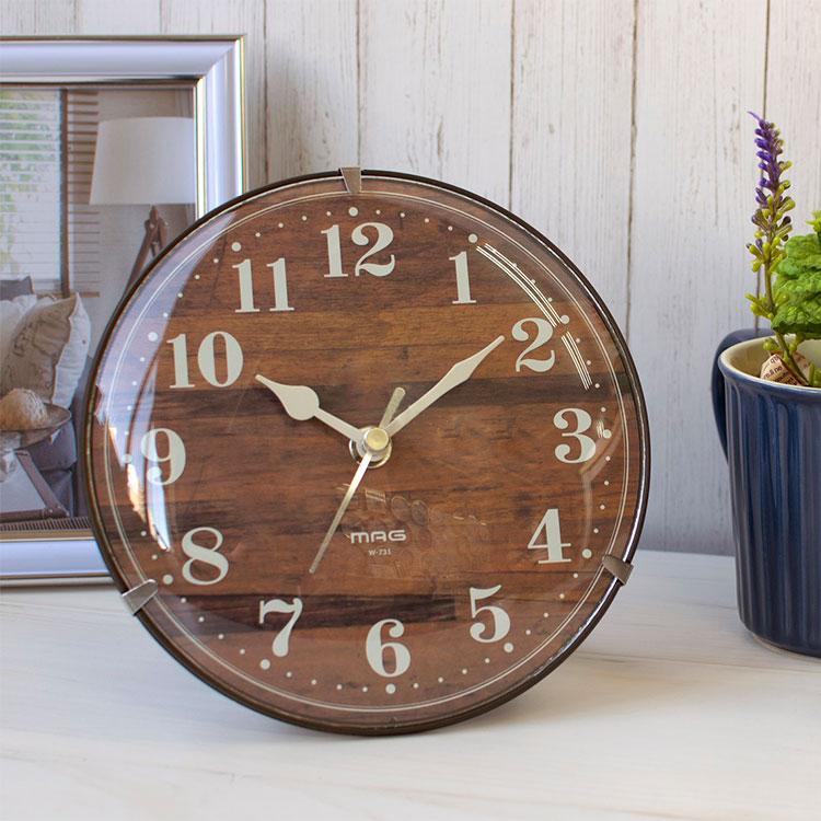 MAG 大特価 電波置掛両用クロック 置き時計 掛け時計 置き掛け兼用時計 置き掛け両用時計 電波時計 ナチュラル 在宅 ウォールクロック コンパクトサイズ 木目調 寝室 シンプル おしゃれ テレワーク 輸入