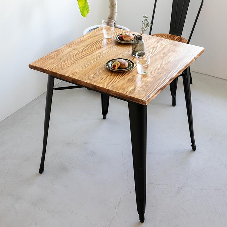 ダイニングテーブル テーブル 幅76cm 2人掛け 高さ76cm ダイニング用 食卓用 おしゃれ 2人用 二人用 正方形 木製 無垢材 ヴィンテージ ビンテージ アンティーク 西海岸 ブルックリン アメリカン 男前インテリア テレワーク 在宅