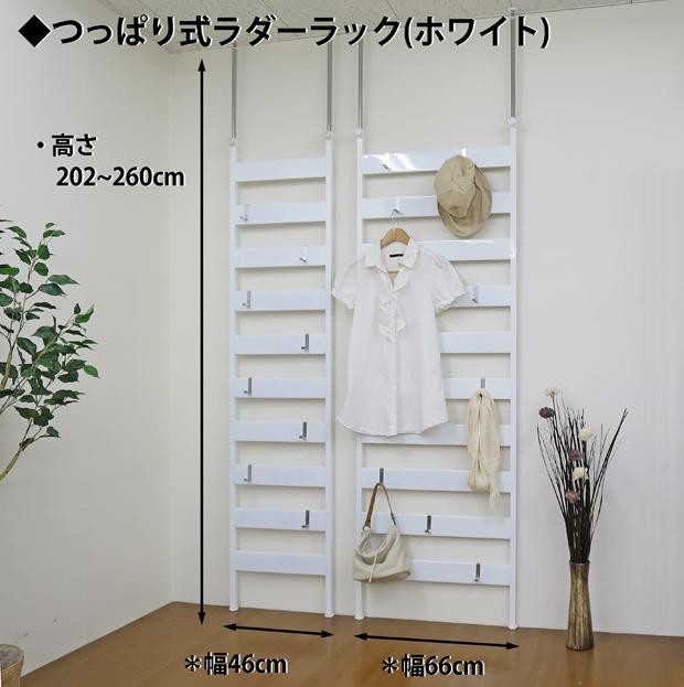 【日本製・送料無料】 つっぱりラダーラック 幅65cm(フック4ヶ付)