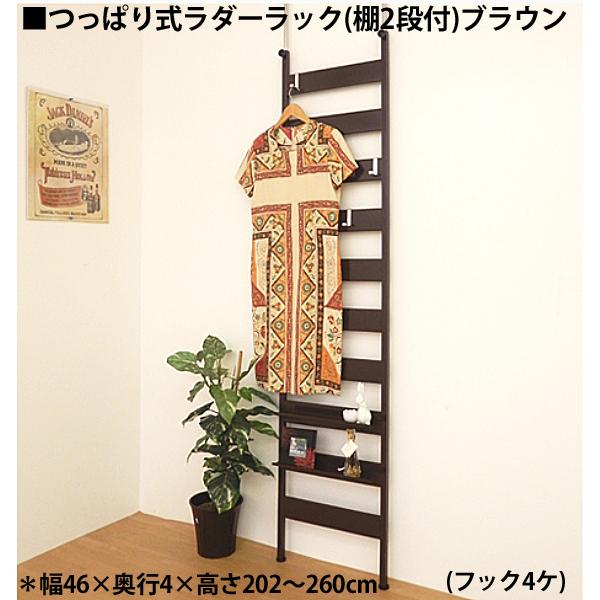 【日本製・送料無料】 つっぱりラダーラック 幅45cm(フック4ヶ棚2ヶ付)