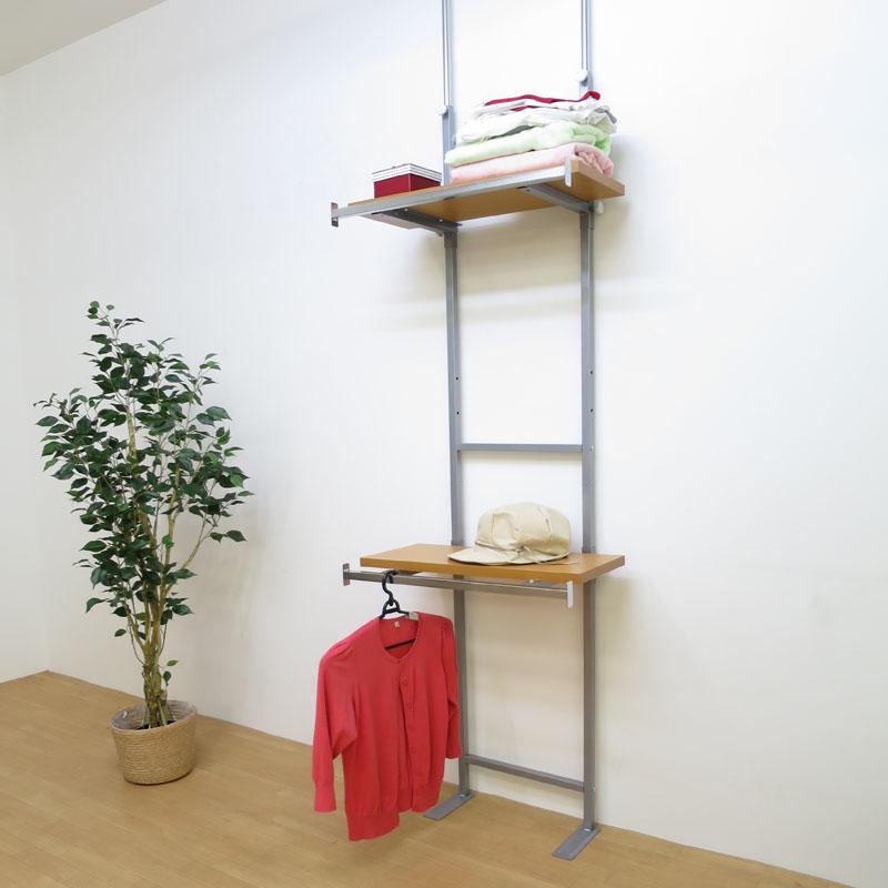 【日本製・送料無料】 つっぱり式棚板無段階可動ラック(棚付ハンガー2段タイプ) 幅60cm 日本製 つっぱり 壁面 ラック 空間活用 棚 ディスプレイ 飾り スチール