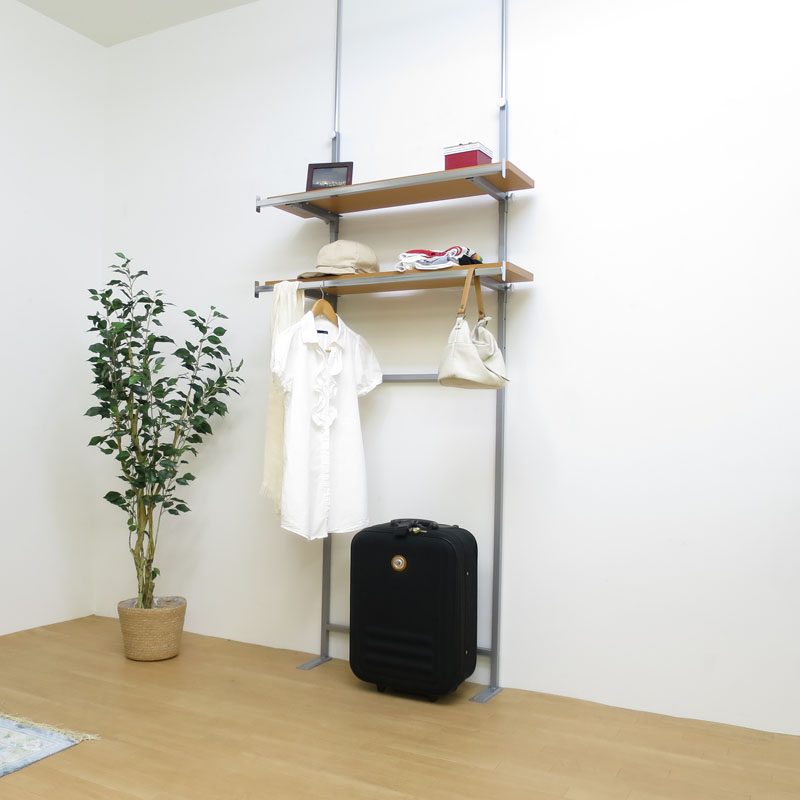 【日本製・送料無料】 つっぱり式棚板無段階可動ラック(棚付ハンガー2段タイプ) 幅90cm 日本製 つっぱり 壁面 ラック 空間活用 棚 ディスプレイ 飾り スチール