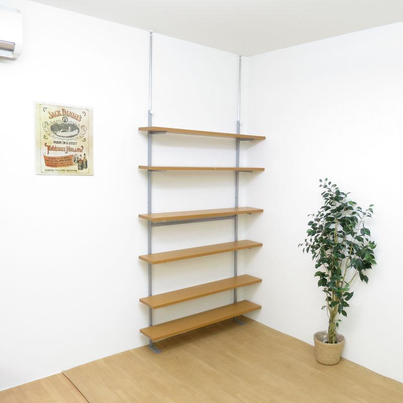 【日本製・送料無料】 つっぱり式棚板無段階可動ラック(6段タイプ) 幅120cm 日本製 つっぱり 壁面 ラック 空間活用 棚 ディスプレイ 飾り スチール