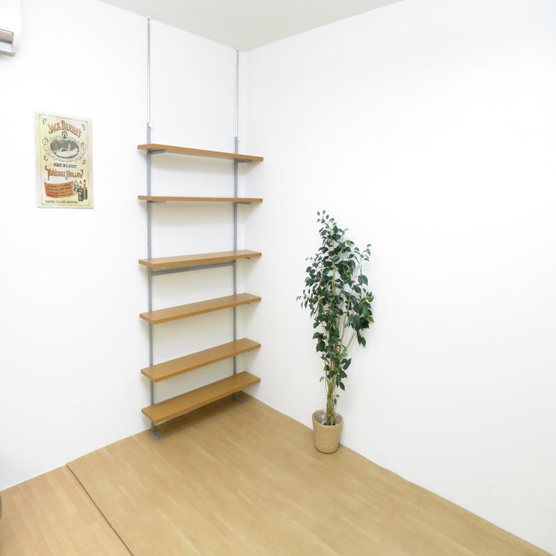 【日本製・送料無料】 つっぱり式棚板無段階可動ラック(6段タイプ) 幅60cm 日本製 つっぱり 壁面 ラック 空間活用 棚 ディスプレイ 飾り スチール