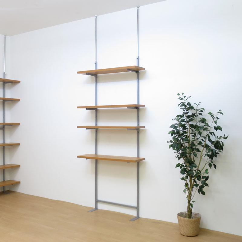 【日本製・送料無料】 つっぱり式棚板無段階可動ラック(4段タイプ) 幅90cm 日本製 つっぱり 壁面 ラック 空間活用 棚 ディスプレイ 飾り スチール