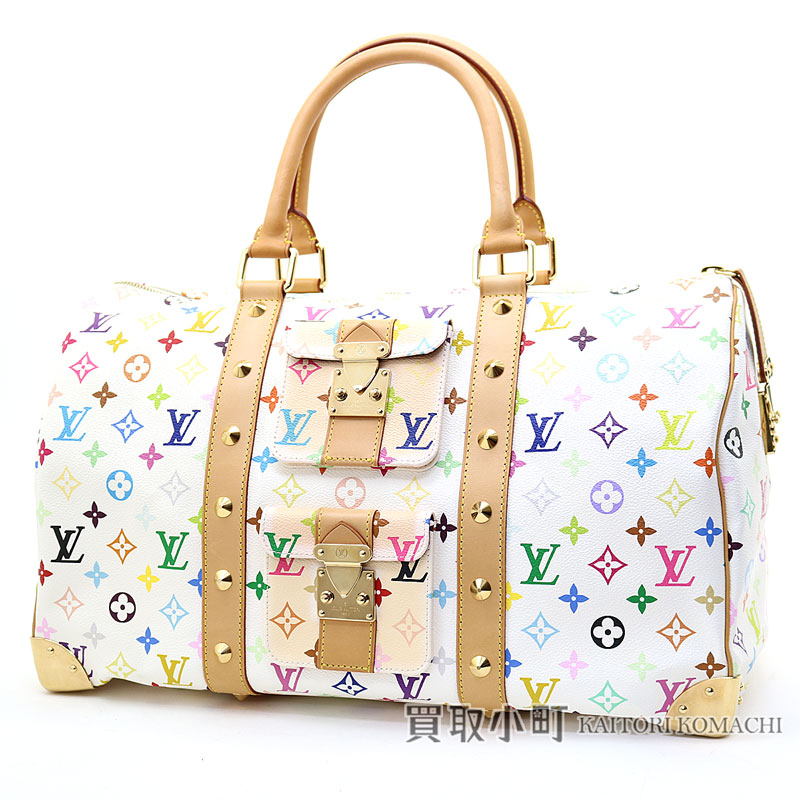 141093c61cd8 Louis Vuitton M92641 key Poll 45 monogram multicolored Bronn Boston bag  trip bag travel bag white LV KEEPALL 45 MONOGRAM MULTICOLORE