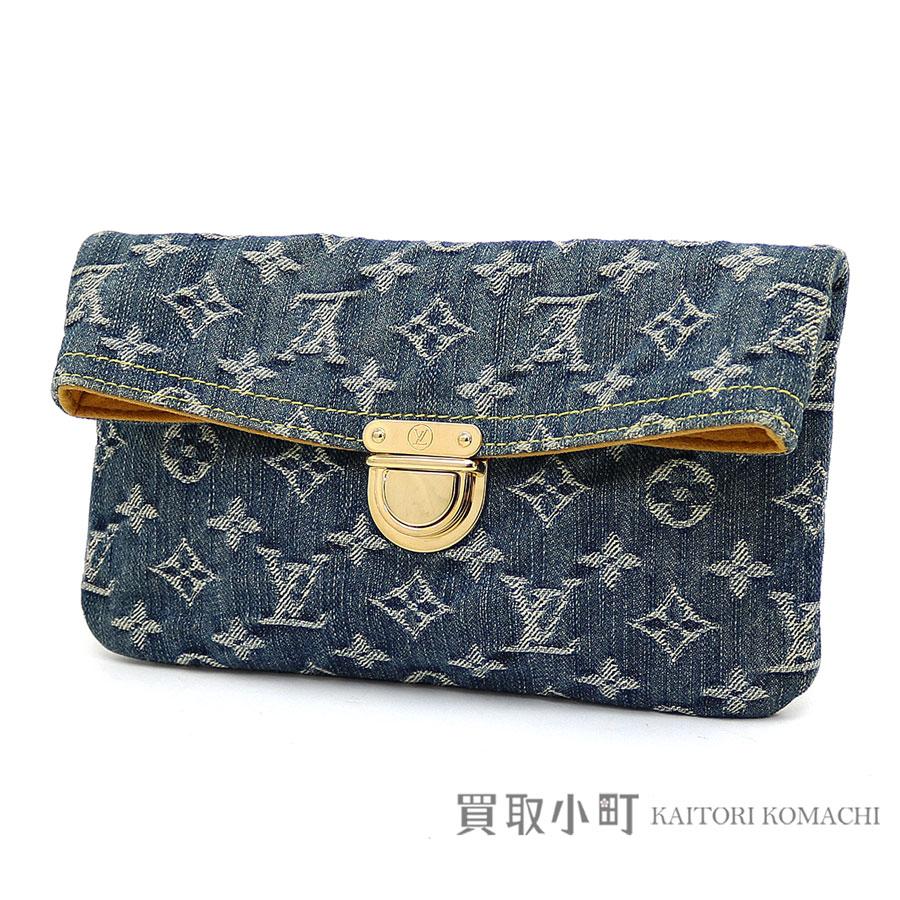 5351dc0d93d Louis Vuitton M95007 Pochette Pratt Monogram Denim Blue Clutch Bag Porch Lv  Pochete Platt