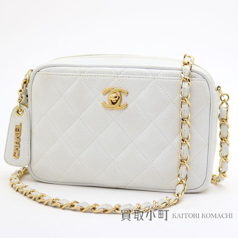 1882089073 KAITORIKOMACHI: Take Chanel mini-matelasse caviar skin chain shoulder bag  white here mark twist lock stitch quilting chain bag pochette slant; ...