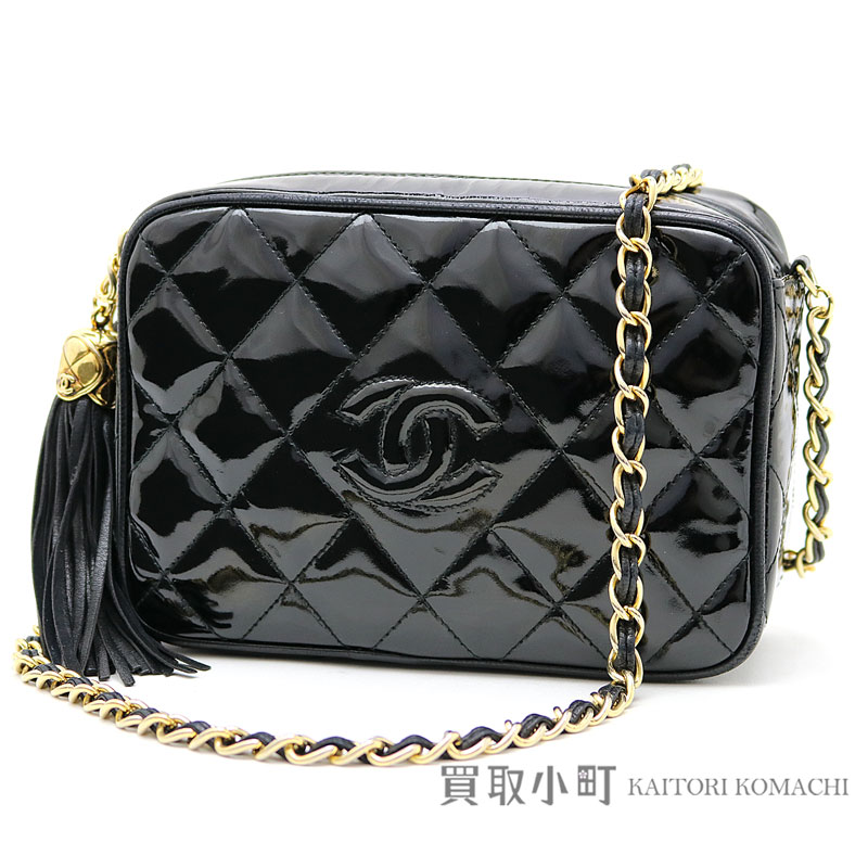 a24efd78ad1 KAITORIKOMACHI: Chanel mini-matelasse tassel charm chain shoulder bag black  patent leather here mark stitch quilting enamel classical music fringe  vintage ...